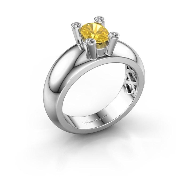 Ring Cornelia Oval 585 white gold yellow sapphire 7x5 mm