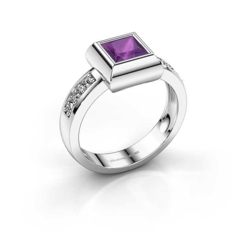 Ring Charlotte Square 925 Silber Amethyst 5 mm