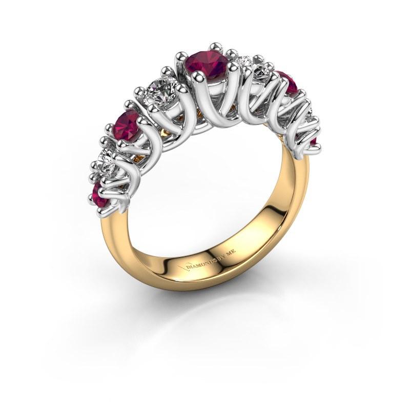 Engagement ring Fatima 585 gold rhodolite 3.7 mm