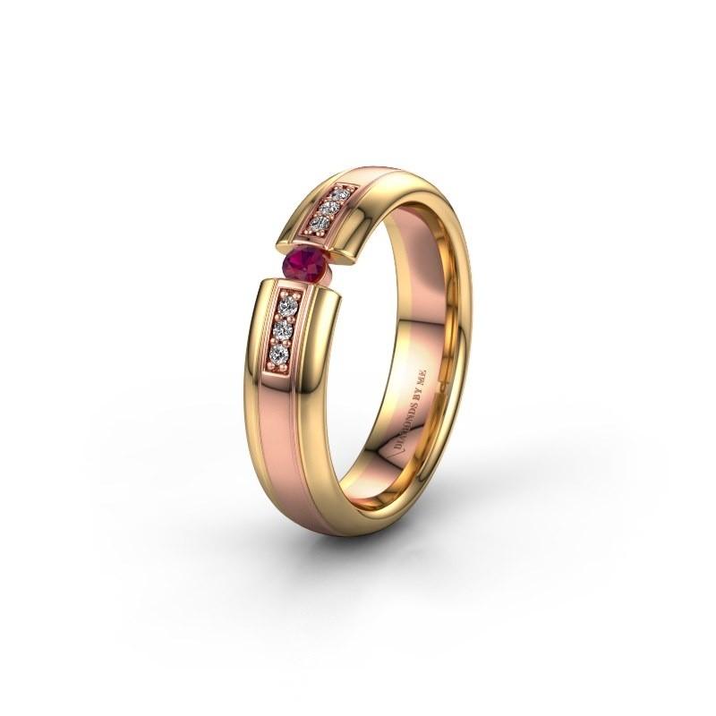 Trouwring WH2128L26C 585 rosé goud rhodoliet ±5x2 mm
