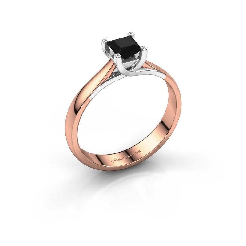 Engagement ring Mia Square 585 rose gold black diamond 0.48 crt