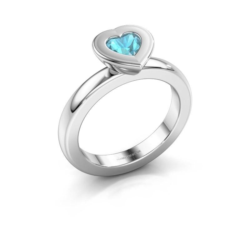 Stapelring Eloise Heart 925 zilver blauw topaas 5 mm