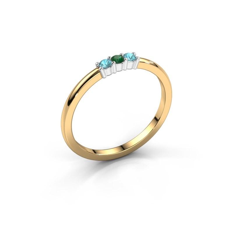 Verlobungsring Yasmin 3 585 Gold Smaragd 2 mm