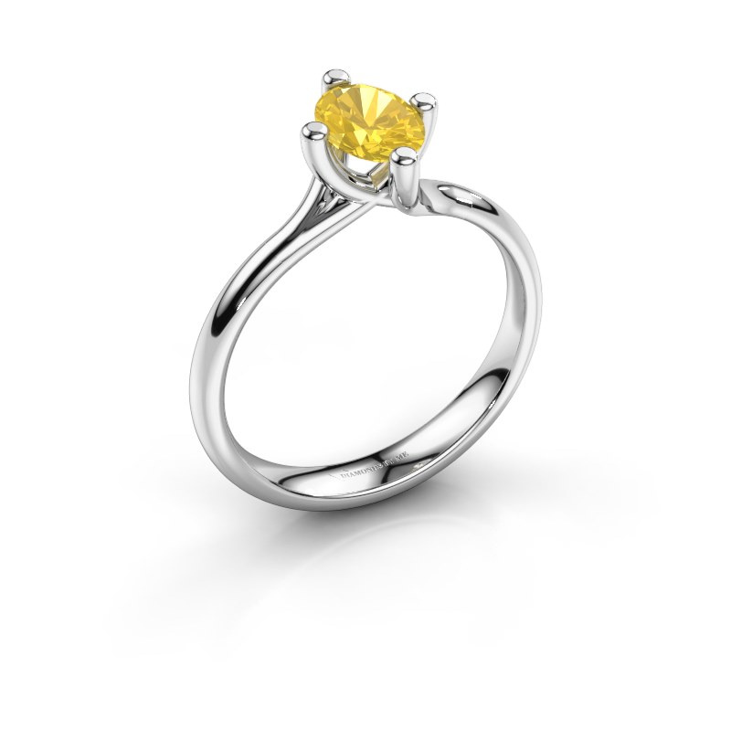 Engagement ring Dewi Oval 925 silver yellow sapphire 7x5 mm