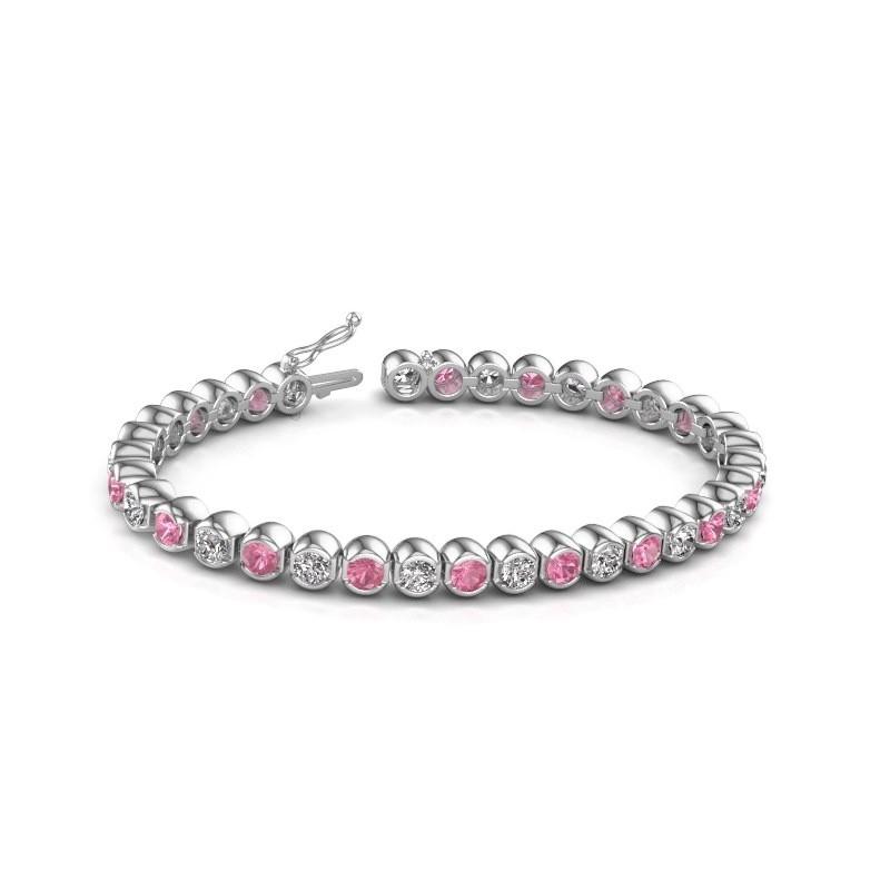 Tennis bracelet Bianca 585 white gold pink sapphire 4 mm