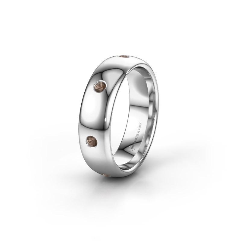 Wedding ring WH0105L36BP 950 platinum smokey quartz ±6x2 mm