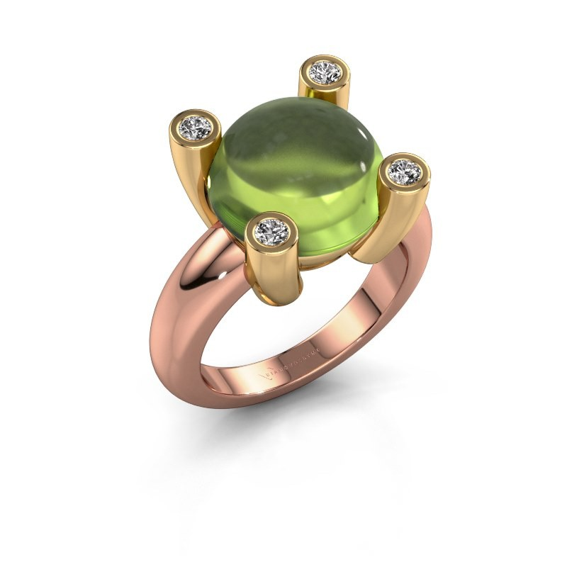 Ring Janice RND 585 rosé goud peridoot 12 mm