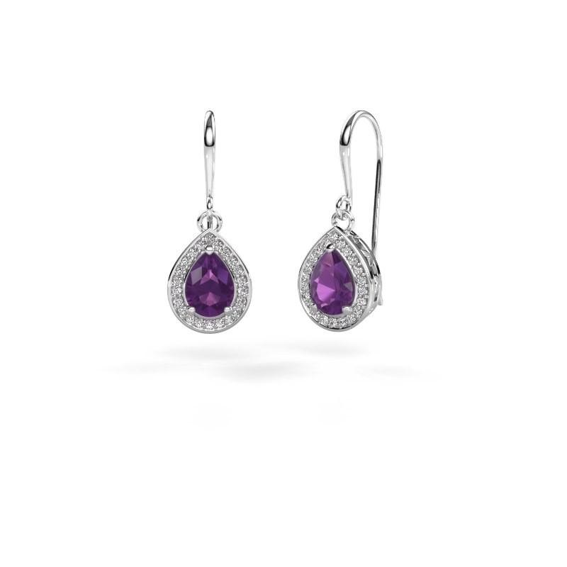 Drop earrings Beverlee 1 950 platinum amethyst 7x5 mm