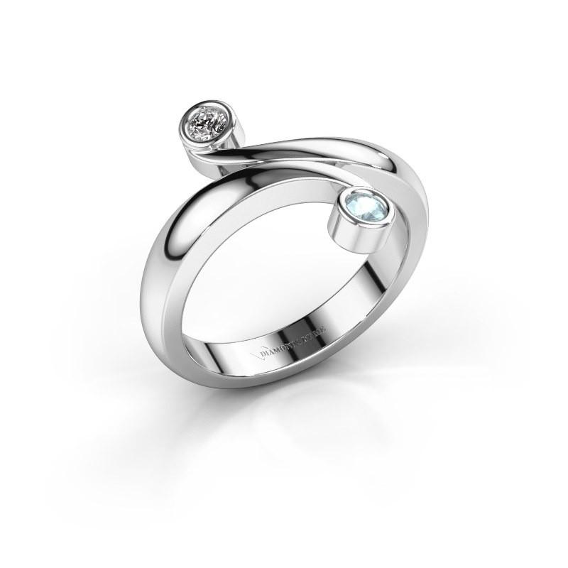Ring Hilary 585 witgoud aquamarijn 2.5 mm