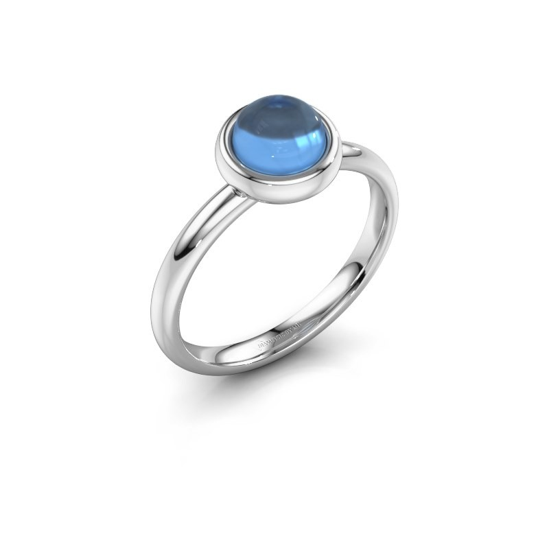 Ring Blossom 925 silver blue topaz 6 mm