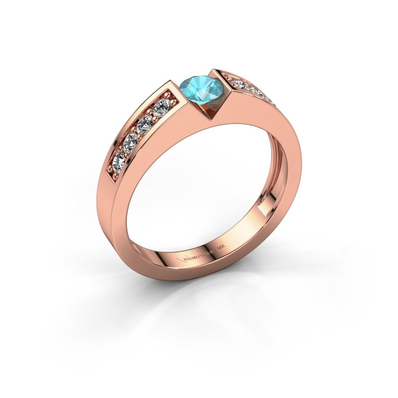 Engagement ring Lizzy 2 585 rose gold blue topaz 4.2 mm