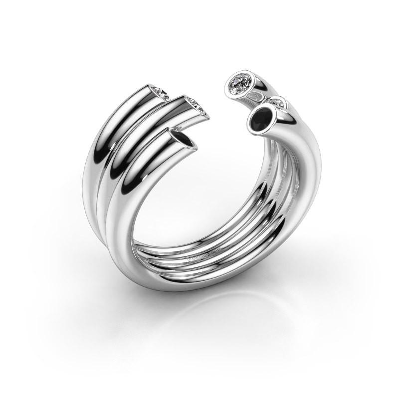 Ring Noelle 585 white gold black diamond 0.352 crt