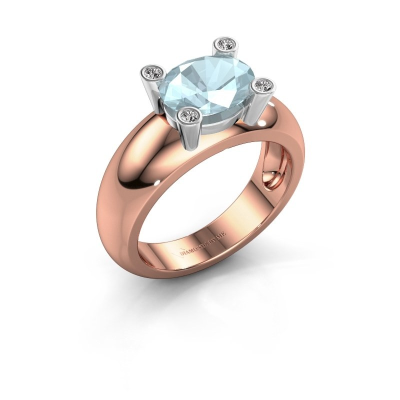 Ring Tamara OVL 585 rosé goud aquamarijn 9x7 mm