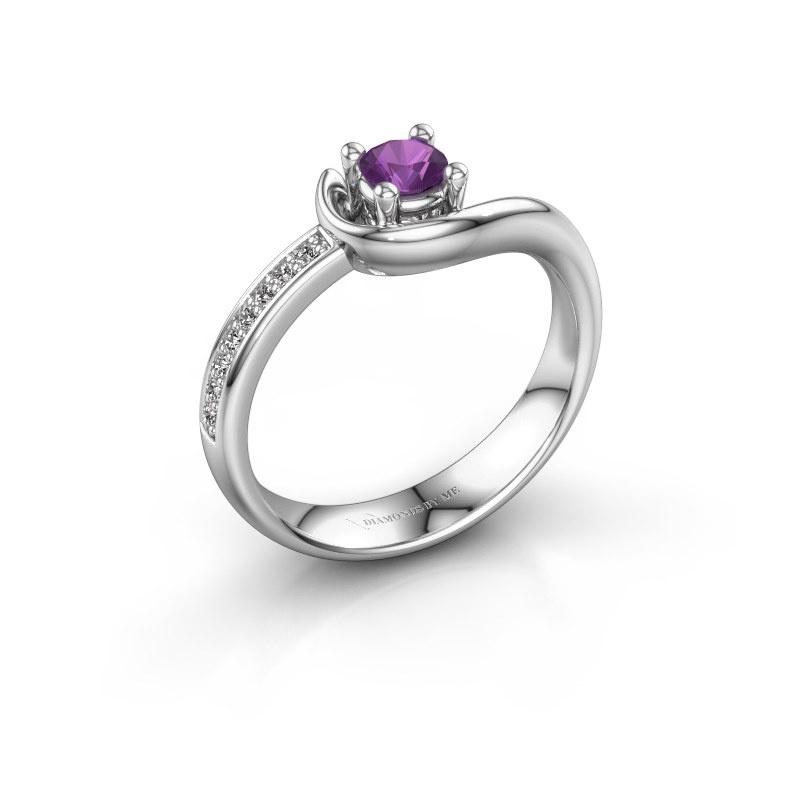 Ring Ceylin 585 witgoud amethist 4 mm