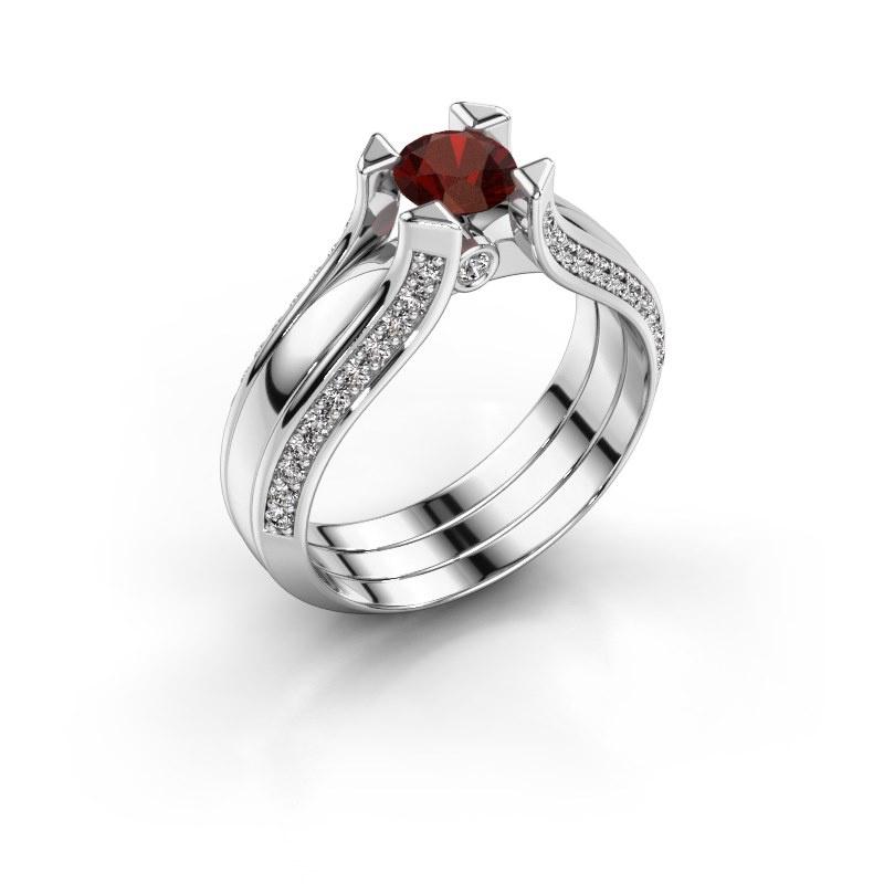 Engagement ring Nadine 585 white gold garnet 5 mm