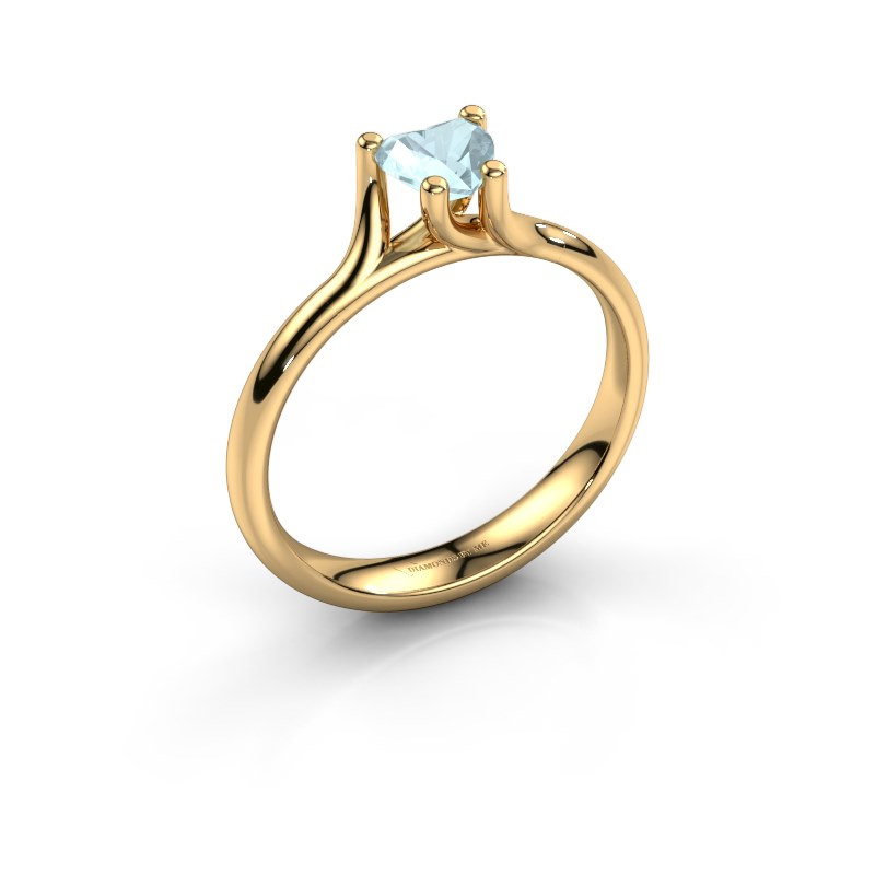 Engagement ring Dewi Heart 585 gold aquamarine 5 mm