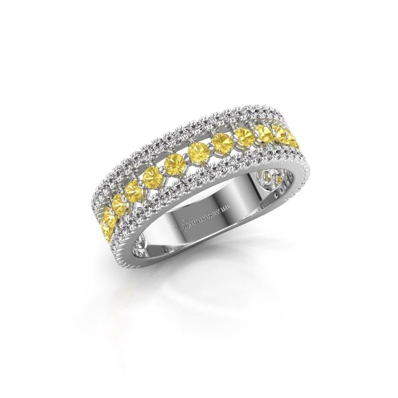Verlovingsring Elizbeth 1 925 zilver gele saffier 2 mm