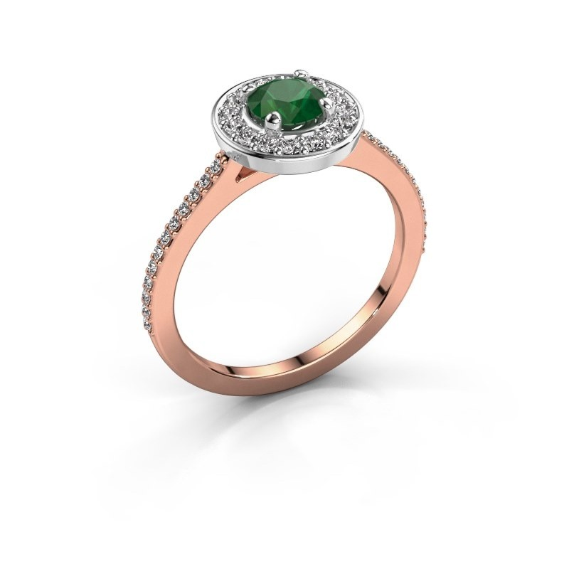 Ring Agaat 2 585 rose gold emerald 5 mm