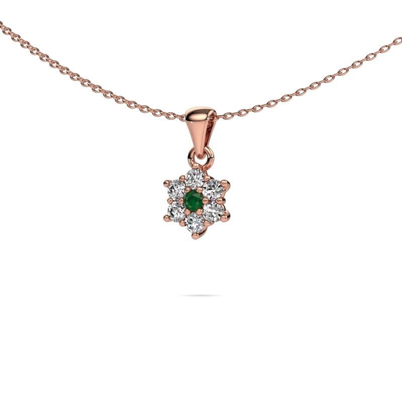 Kette Chantal 585 Roségold Smaragd 2.4 mm