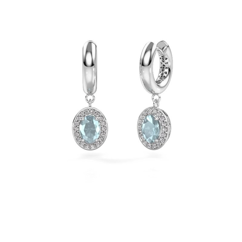 Drop earrings Annett 950 platinum aquamarine 7x5 mm