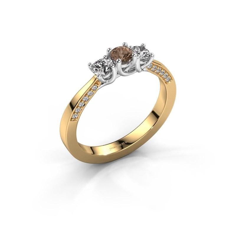 Verlovingsring Rivka 375 goud bruine diamant 0.50 crt