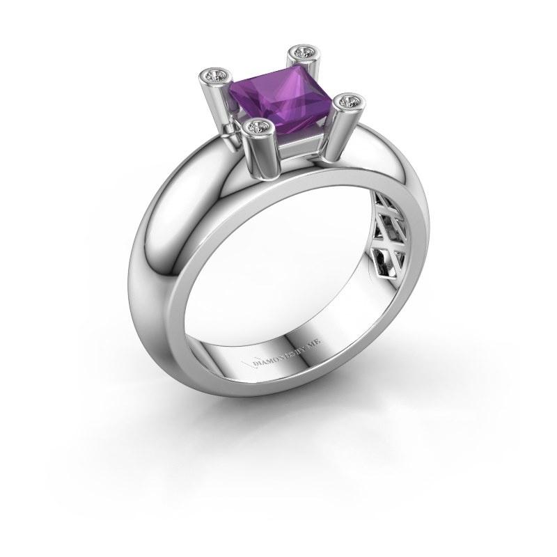 Ring Cornelia Square 925 silver amethyst 5 mm