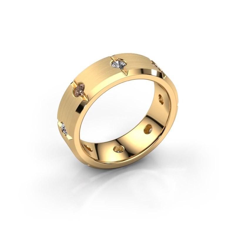 Herren ring Irwin 585 Gold Braun Diamant 0.64 crt