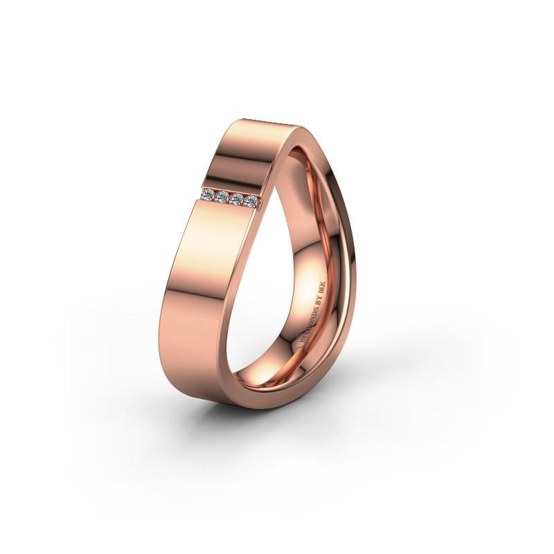 Trouwring WH2046P 375 rosé goud diamant ±5x2.2 mm