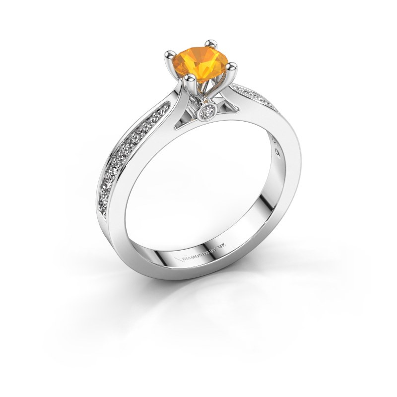 Engagement ring Evelien 950 platinum citrin 5 mm