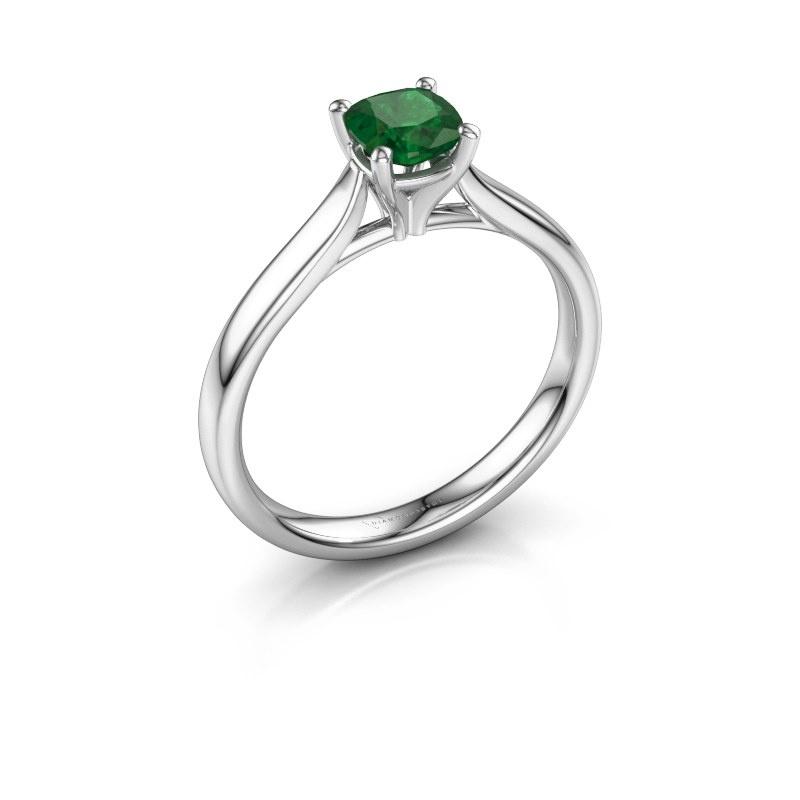 Verlovingsring Mignon cus 1 925 zilver smaragd 5 mm