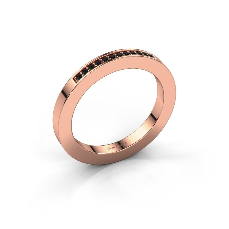 Stackable ring Loes 1 375 rose gold black diamond 0.096 crt