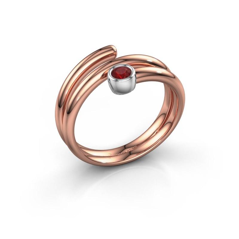 Ring Jenna 585 rosé goud robijn 3 mm