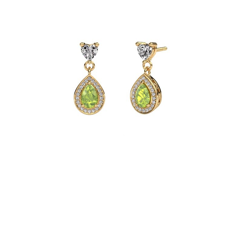 Drop earrings Susannah 375 gold peridot 6x4 mm