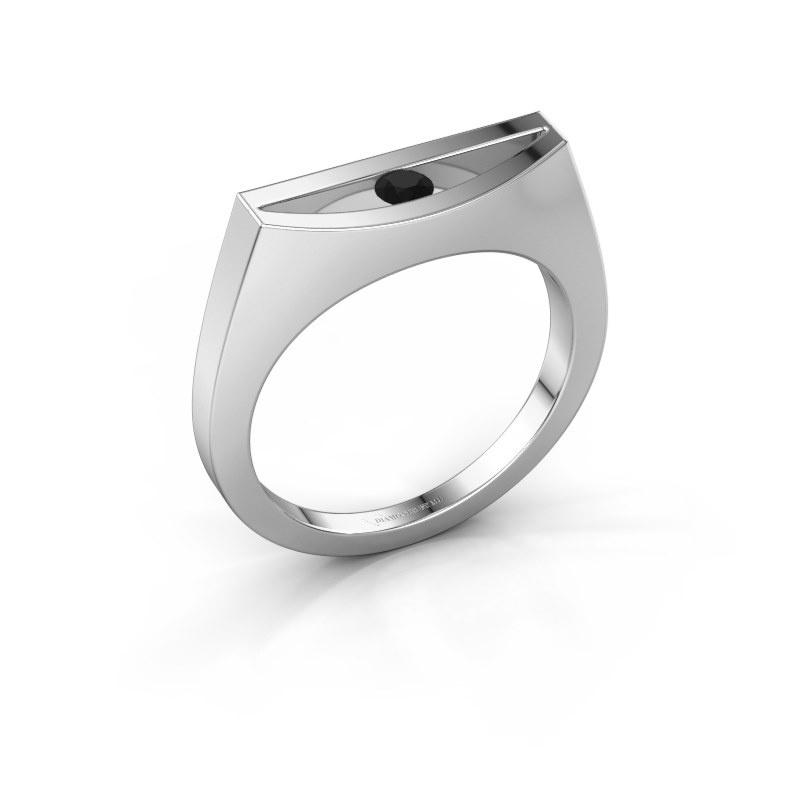 Ring Milou 585 white gold black diamond 0.12 crt