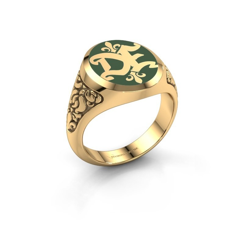 Monogram ring Brian Emaille 585 goud groene emaille