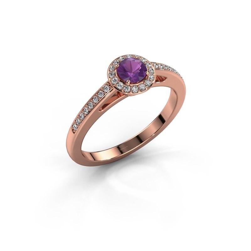 Engagement ring Aaf 375 rose gold amethyst 4.2 mm