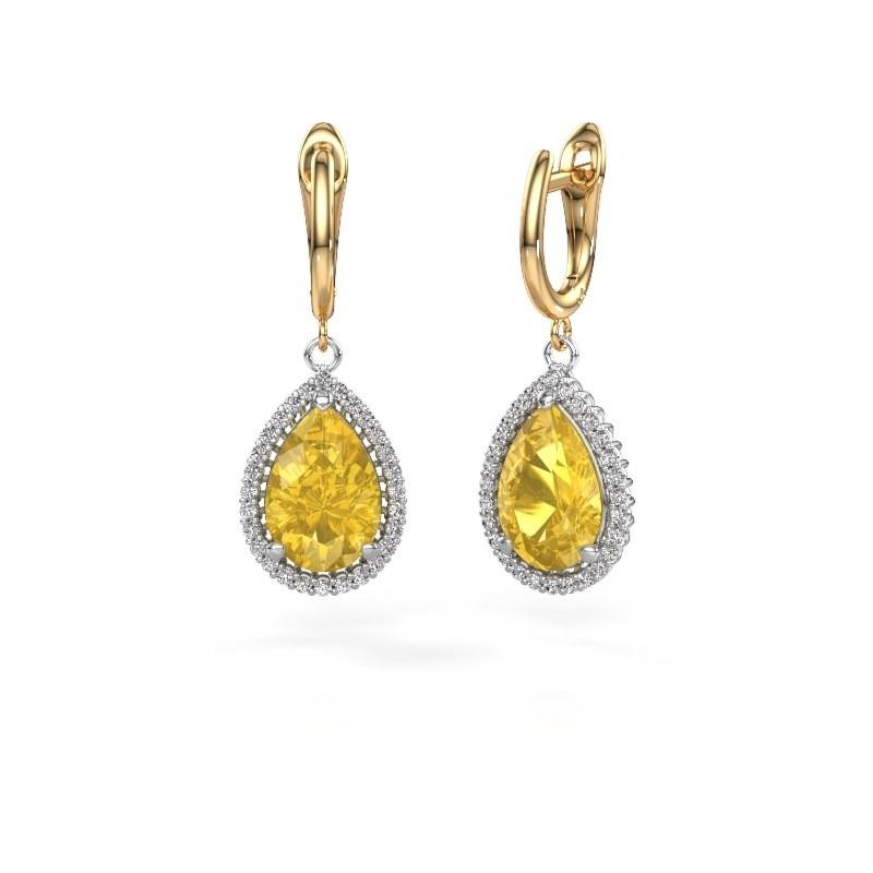 Drop earrings Hana 1 585 white gold yellow sapphire 12x8 mm