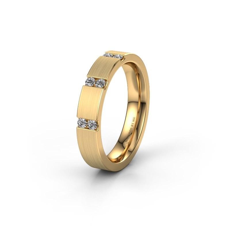 Trouwring WH2133L14BM 375 goud zirkonia ±4x2.2 mm