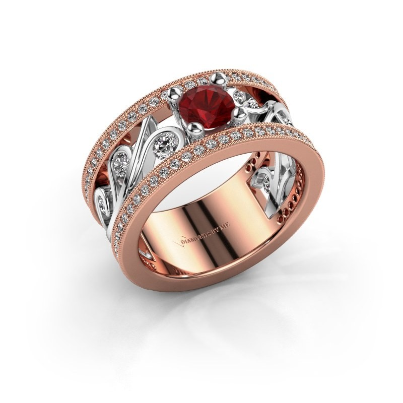 Ring Sanne 585 rosé goud robijn 5 mm