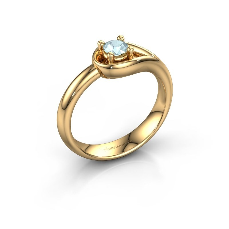 Ring Fabienne 585 goud aquamarijn 4 mm