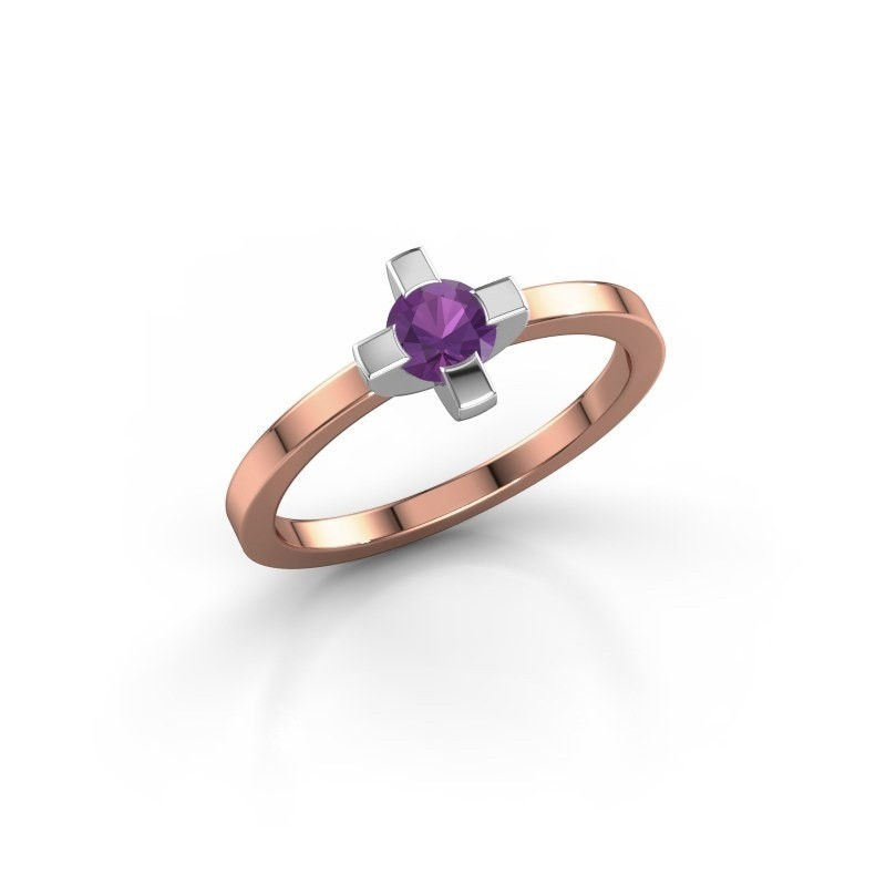 Ring Therese 585 rosé goud amethist 4.2 mm