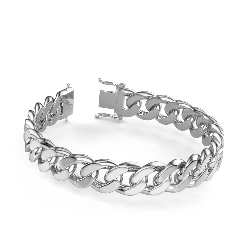 Cuban link armband ±13 mm 950 platina