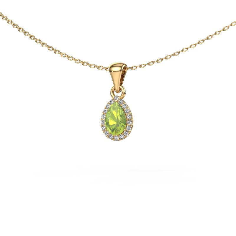 Halskette Seline per 375 Gold Peridot 6x4 mm