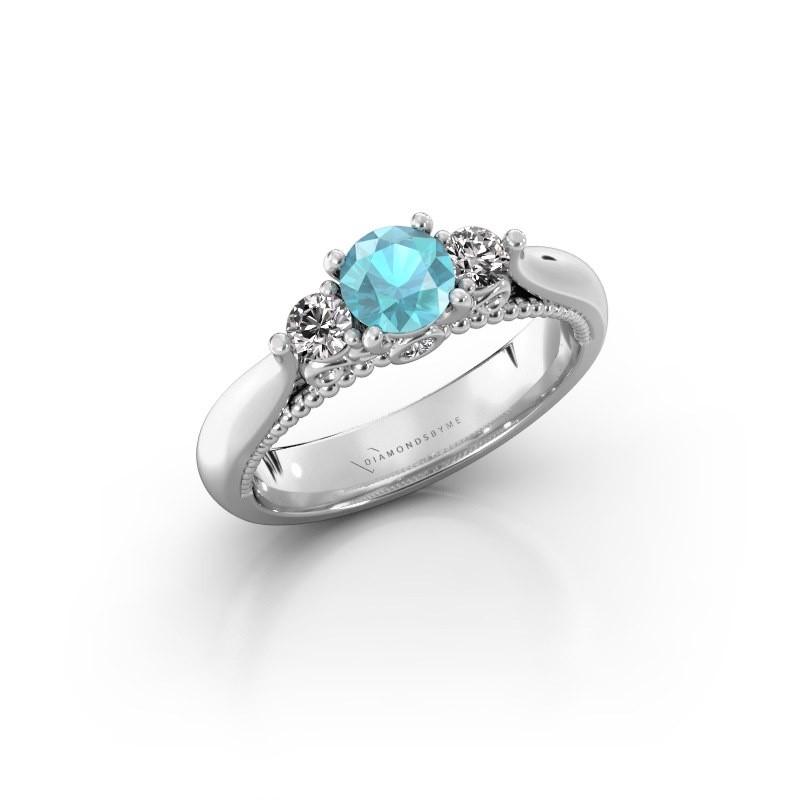 Verlovingsring Tiffani 585 witgoud blauw topaas 5 mm