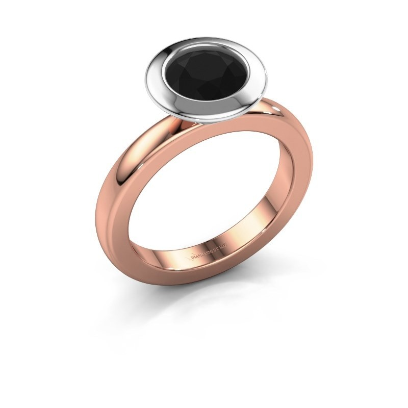 Stacking ring Trudy Round 585 rose gold black diamond 1.56 crt