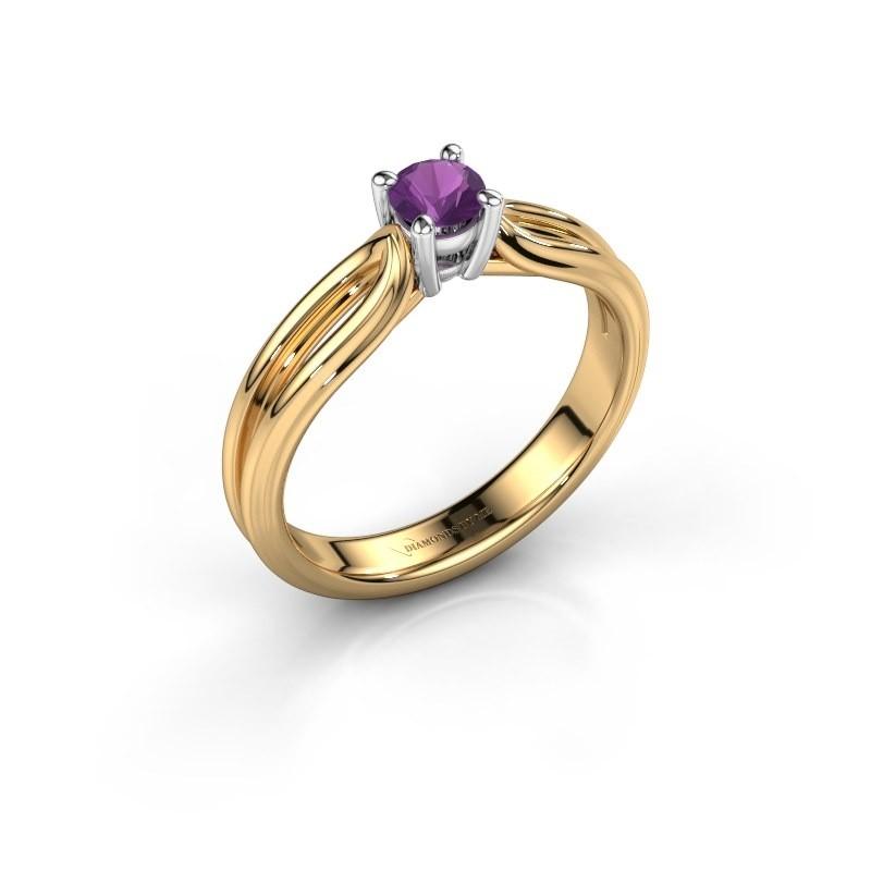 Verlovingsring Antonia 1 585 goud amethist 4 mm