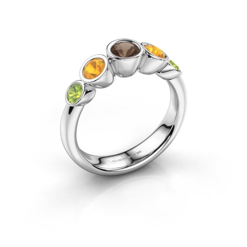 Ring Lizz 585 white gold smokey quartz 4 mm