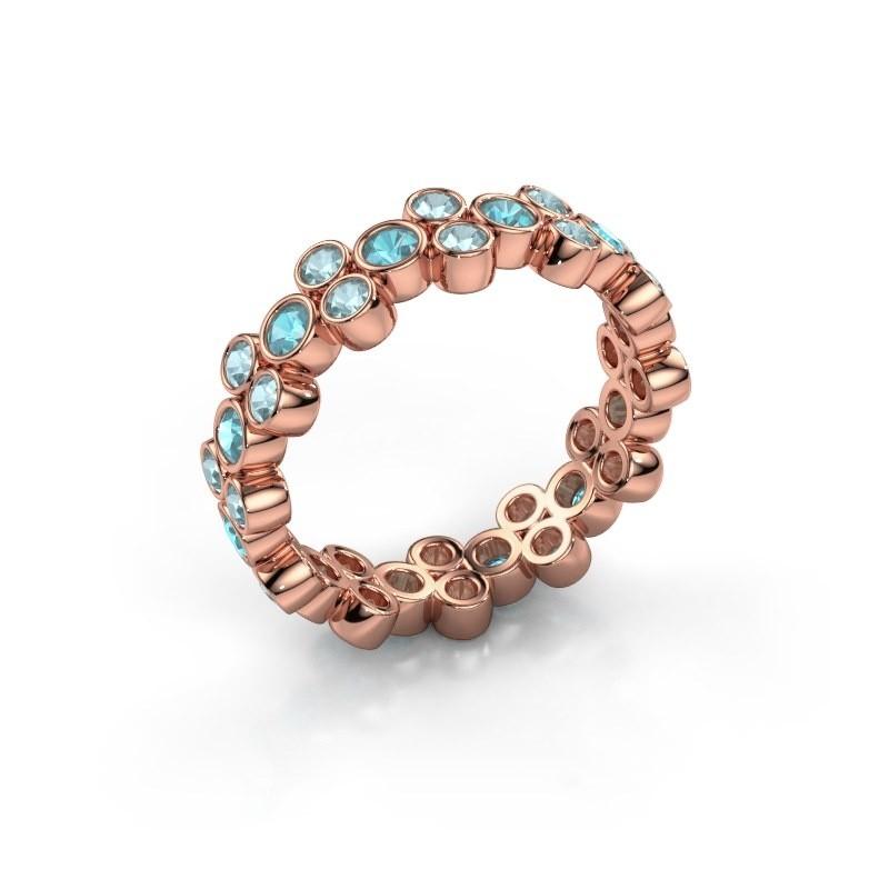 Ring Victoria 375 rose gold blue topaz 2.4 mm