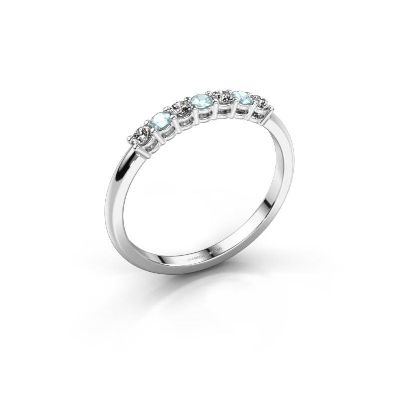 Verlovings ring Michelle 7 585 witgoud aquamarijn 2 mm