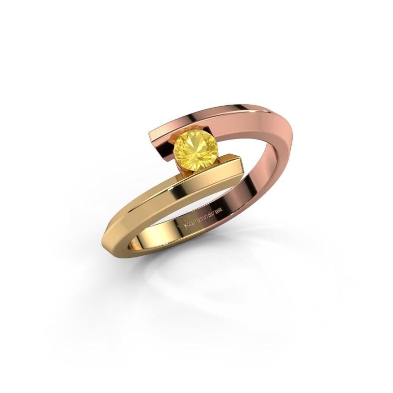 Ring Paulette 585 rose gold yellow sapphire 3.4 mm